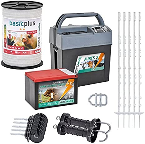 VOSS.farming Kit Valla eléctrica para Caballos, Set Completo 9 V, con Pastor eléctrico