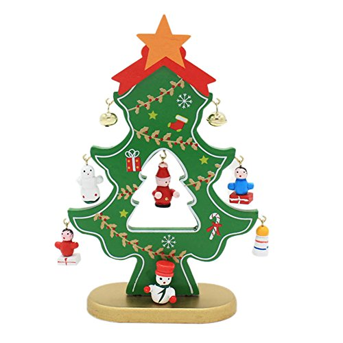 ArMordy(TM) 1PC Wooden Christmas Decorations Desk Navidad Tree Snowman Ornaments Decorations for Home Enfeites De Natal[Green]