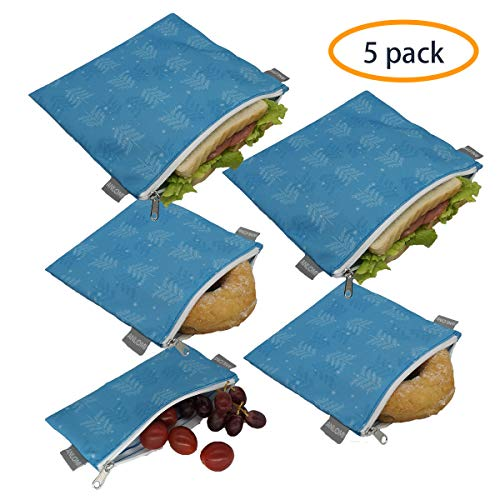 Reusable Sandwich Bags Snack Bags - Set of 5 Pack, Dishwasher Safe Lunch Bags with Zipper, Eco Friendly Food Wraps, BPA-Free. (Trees)