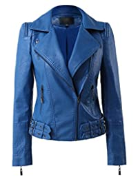 Womens Faux Leather Zip Up Moto Biker Jacket With Many Details