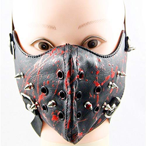 EDMISU Metal Studded Steampunk Leather Mask Biker Men Half Face Mask Airsoft Wind Cool Punk Rivets Black Masquerade Leather Mask -