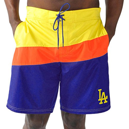 Dodgers Spring Training (G-III Sports Los Angeles Dodgers by Carl Banks Spring Training Swim Trunks - Royal/Yellow (X-Large))
