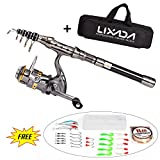Lixada Telescopic Fishing Rod and Reel Combo Full Kit Spinning Fishing Reel Gear Pole Set with 100M Fishing Line,Fishing Lures,Fishing Hooks Jig Head, Fishing Carrier Bag Case