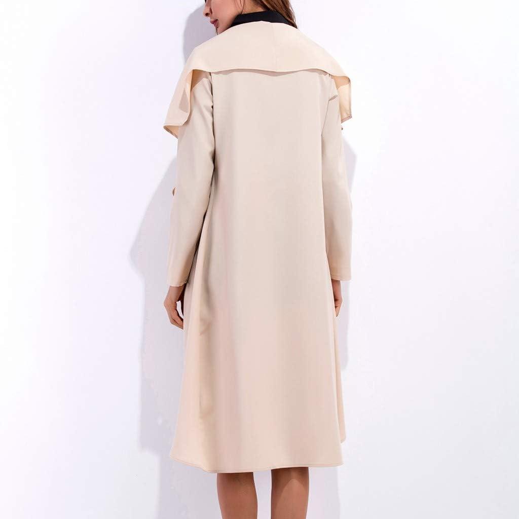 Dainzuy Womens Plus Size Cotton Long Sleeve Open Front Drape Long Cardigan Loose Woolen Jacket Overcoat Outwear