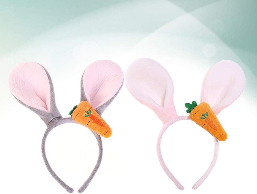 Lurrose 2pcs Osterhasenohren Haarb/änder mit einem Karottenkost/üm Party Cosplay Dekor