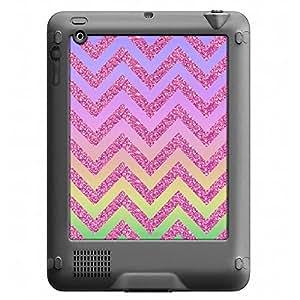 Skin Decal for LifeProof Nuud Apple iPad Gen 2/3/4 Case - Rainbow on Chevron Glitter Pink