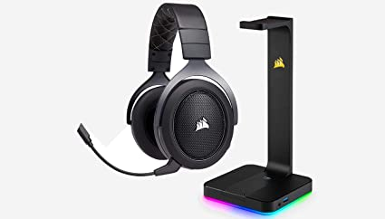 CORSAIR HS70 WIRELESS Gaming Headset, Carbon and CORSAIR ST100 RGB -  Premium RGB Gaming Headset Stand with 7 1 Surround Sound Headphone Audio -  3 5mm