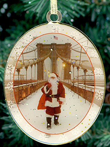 New York City Christmas Ornament - Santa on Brooklyn Bridge ()