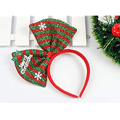 Hair Hoop Xmas Hair Accessory Headwear Colorful Bow Headband Christmas Holiday Party Supplies Gifts (Green): Health & Personal Care