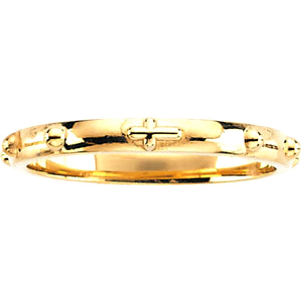 10k Yellow Gold 2.50mm Rosary Ring, Size 4.5
