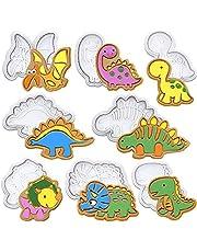 Dinosaurus-uitsteekset, 8-delig, dinosaurus-chocolade-uitsteekvormpjes, stamper, reliëf, 3D-kunststof uitstekers, fondant, taartdecoratie voor Halloween, Kerstmis