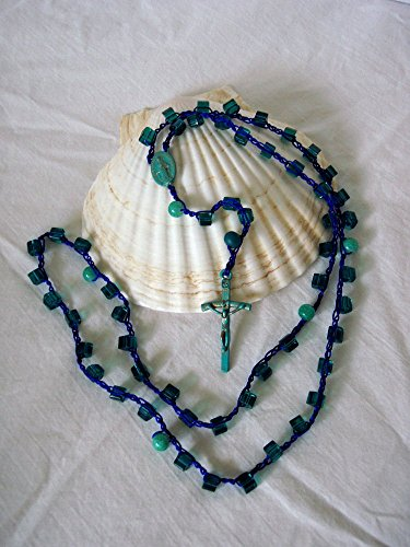 Blue Green Glass Cube Rosary