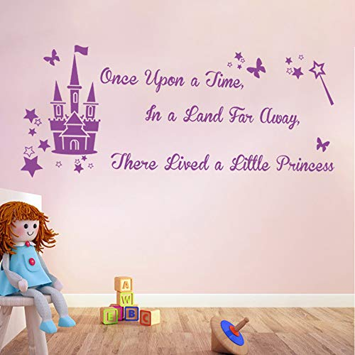 decalmile Castle Wall Decals Quotes There Lived a Little Princess Purple Wall Letters Stickers for Girls Room Baby Nursery Kids ()