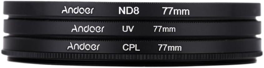 Andoer 77mm UV + CPL + ND8 Circular filtro Kit Circular polarizador Filtro ND8 densidad neutra filtro con bolsa para cámara réflex digital de Nikon Canon Pentax Sony
