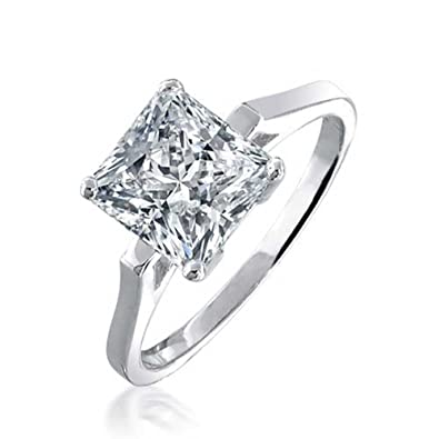 1db0947cafb604 Image Unavailable. Image not available for. Color: 1.6CT Thin Solitaire  Colorless Cubic Zirconia 925 Sterling Silver Princess Cut ...