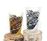Kraken Sinking Submarine Glasses - Screen Printed Pint Glasses - Set of Two 16oz. Pint Glasses