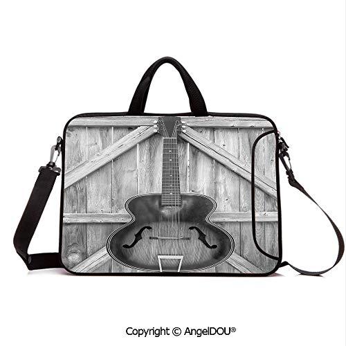 AngelDOU Waterproof Laptop Sleeve Bag Neoprene Carrying Case with Handle & Strap Vintage Acoustic Instrument Guitar Hanged on Old Wooden Door Fences Country Ranc for Women &Men Work Home Office Grey