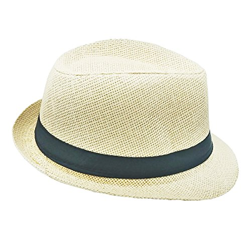 List A Banded Straw Fedora Hat for Kids Trilby Gangster Panama Classic Vintage Short Brim Style (Natural)