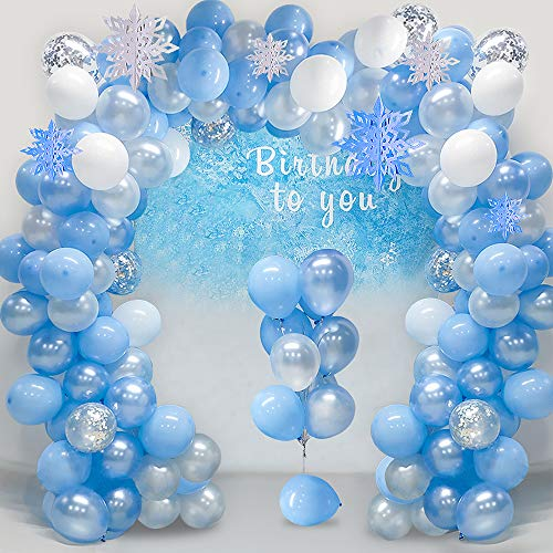 Frozen Party Balloons (FUNCUBE Balloon Garland Arch Kit 16Ft Long Ice Snow Blue & White & Silver Latex Balloons Pack for Wedding Birthday Baby Shower Bachelorette Party Backdrop)