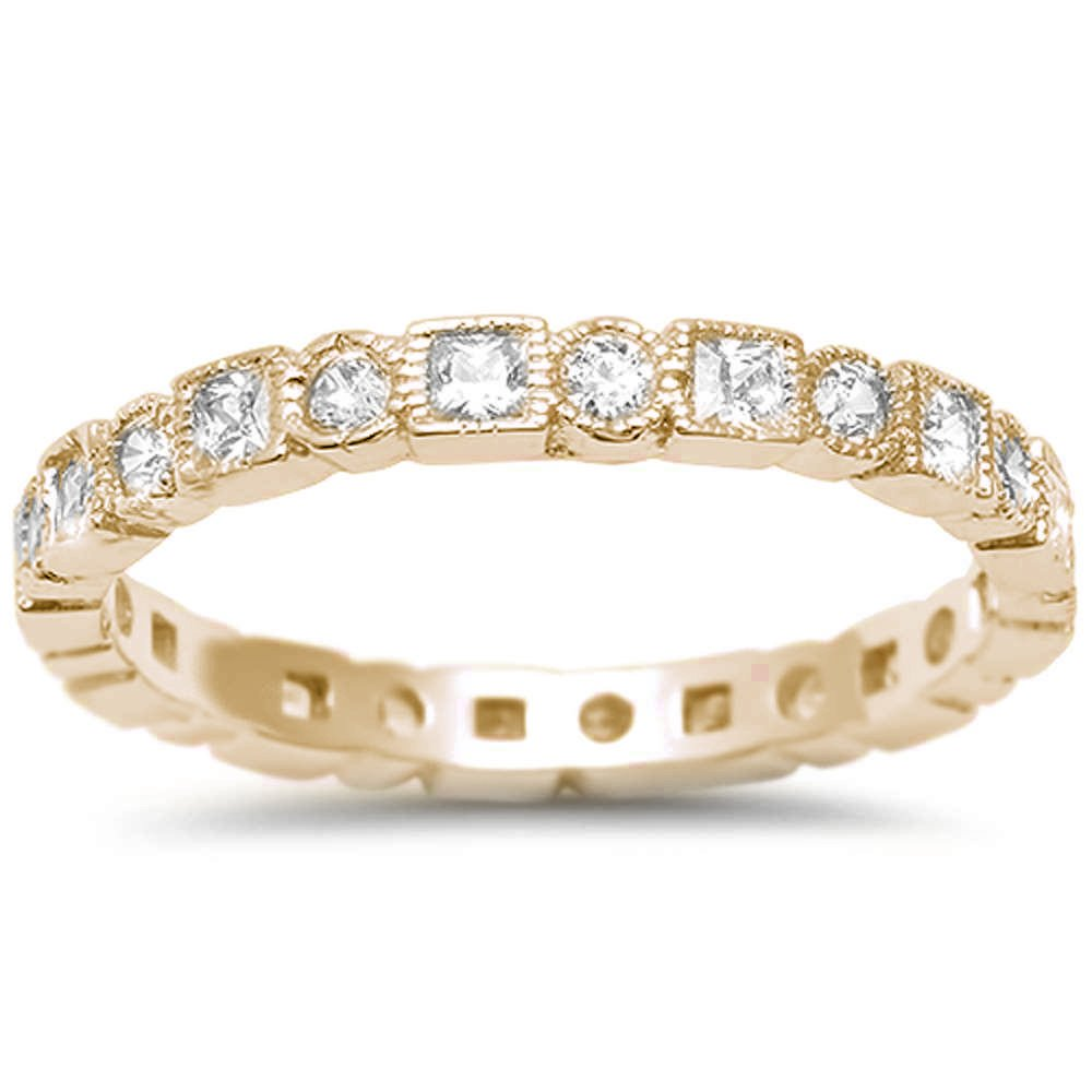Oxford Diamond Co Sterling Silver Yellow Gold Plated Antique Style Bezel Set Eternity Stackable Ring Sizes 5