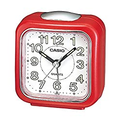 Casio #TQ-142-4 Table Top Travel with Light Alarm Clock Red