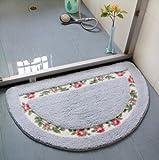 Sytian® Decorative Beautiful Floral Rural Style Rose Flower Design Shaggy Area Rug Doormat Floor Mat Bath Mat Shower Rug Bedroom Carpet (Blue - 40*60cm)