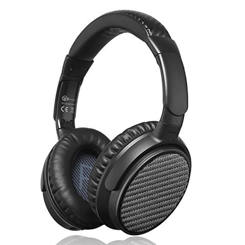 iDeaUSA Active Noise Cancelling Kopfhörer mit Bluetooth 4.1, Apt-X und eingebautes Mikrofon, Wireless HiFi Stereo Over-Ear Headset - Schwarz