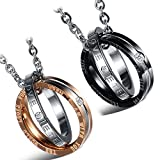 Cupimatch 2 Pieces Couples Necklace with Stainless Steel CZ Eternal Love Interlocking Rings Pendant & Chain
