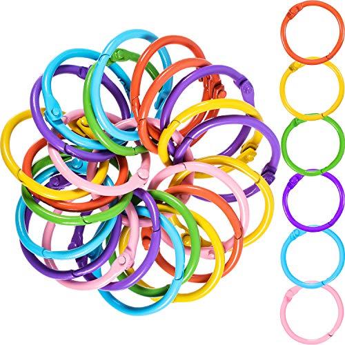 Boao Metal Loose-Leaf Rings, 1.2 Inch Paper Leaf Binder Rings, Notebook Rings Keychains Keyrings, 60 Counts, Assorted Color ()