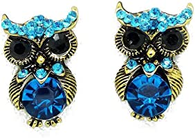 YAZILIND Jewelry Cute Personality Owl Blue Rhinestone Stud Earrings for Women