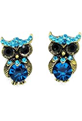 Yazilind Jewelry Cute personality Antique Golden Owl Blue Crystal Stud Earrings for Women Gift Idea