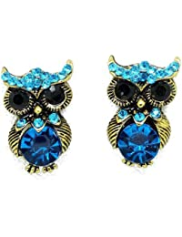 Jewelry Cute personality Antique Golden Owl Blue Crystal Stud Earrings for Women Gift Idea