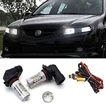 Amazon Com Ijdmtoy 2 Xenon White 80w 9005 Cree Led High Beam Daytime Running Light Kit Compatible With 2007 2008 Acura Tl Automotive