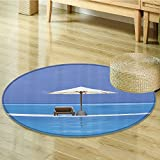 Seaside Decor Circle carpet by Nalahomeqq Beach Chairs and Umbrella on A Island in the Middle of Ocean Seascape Picture Room Accessories Extralong Blue Beige-Diameter 200cm(79')