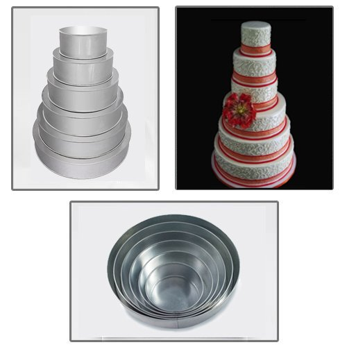 1 X 6 Tier Round Multilayer Wedding Birthday Anniversary Cake Baking Pans - Cake Tins by EURO TINS