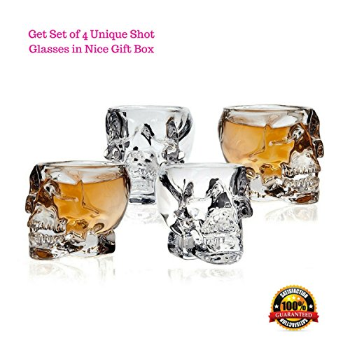 Skull Shot Glasses - Set of 4 Crystal 3D 2.5 Ounce Fun Pirate Head Shotglass for Alcohol Party Drinks - Vodka Scotch Whiskey Tequila Wine Beer - with Gift Box -