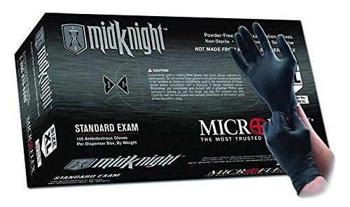Microflex MK-296-XL MidKnight Black, Powder-Free Exam Gloves, XL, Nitrile (Pack of 100) (Xl Nitrile Gloves Black)