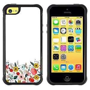 Suave Caso Carcasa de Caucho Funda para Apple Iphone 5C Minimalist Clean Field Flowers / JUSTGO PHONE PROTECTOR