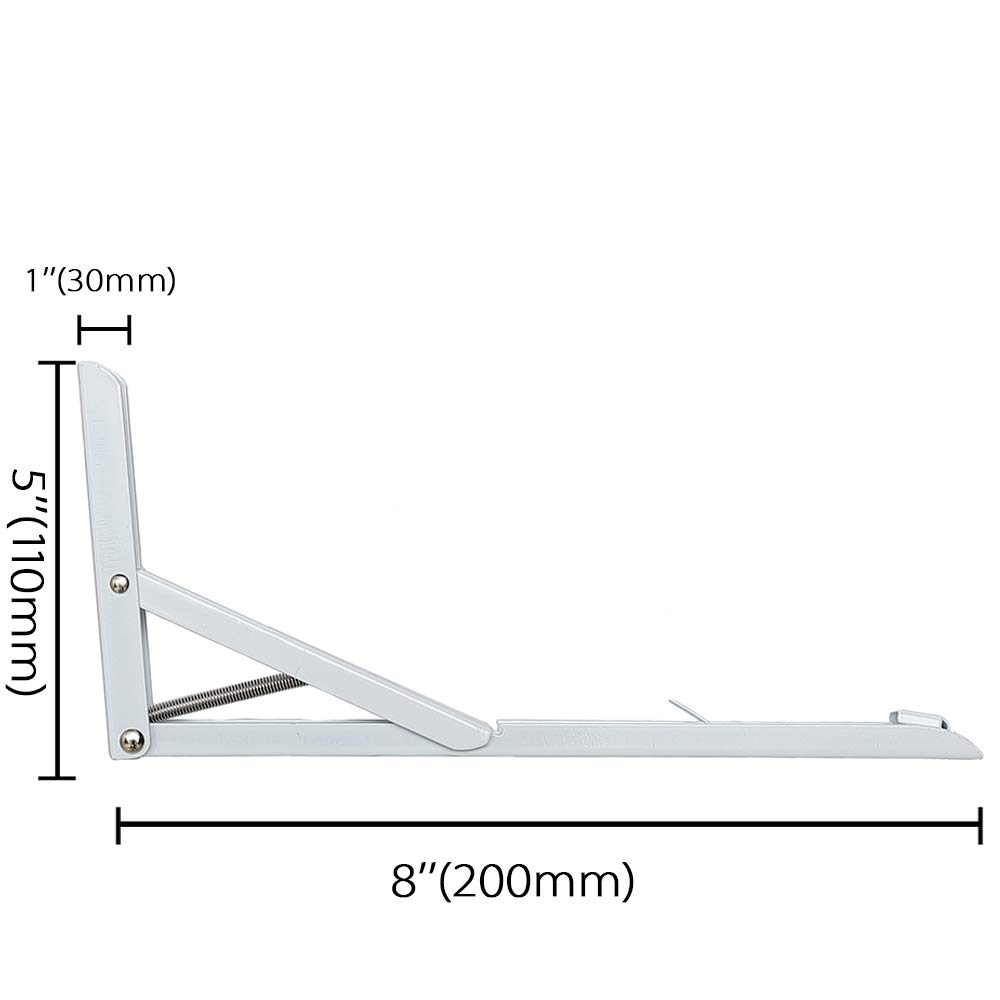 2Pcs, Blanco para Colgar en la Pared 30cm Escuadra Plegable Escuadras Abatibles de Metal Soporte Triangular Soporte para Estante Plegable