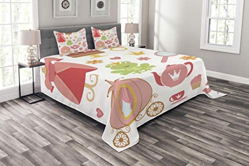 Lunarable Kids Bedspread Set Queen Size, Princess Tiara Tea Party Mirror Teapot Tea Party Frog Crown Fairy Cupcake Girls Print, Decorative Quilted 3 Piece Coverlet Set with 2 Pillow Shams, Coral White by Lunarable