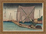 Fishing for Whitebait in the Bay off Tsukuda 36x28 Large Gold Ornate Wood Framed Canvas Art by Keisai Eisen