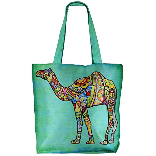 Digital stampato multiuso Moda Shopping Bag - Camel colorato Faux seta Tote Bag con Polysatin Fodera