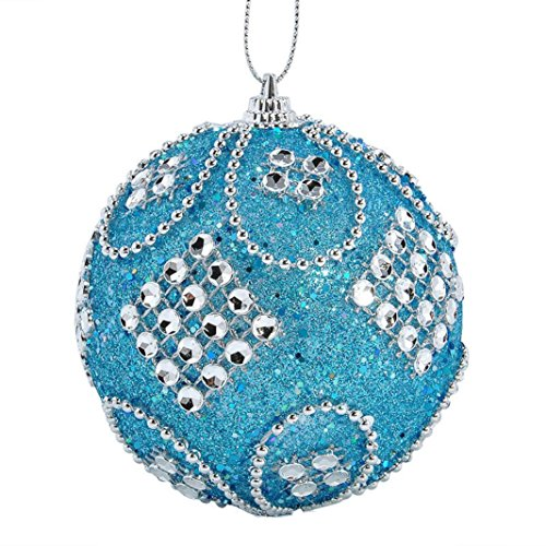 Champagne Ball Ornament - Christmas Ball Ornaments, Forthery Tree Balls for Holiday Wedding Party Decoration Ornaments Hooks (8CM, C)