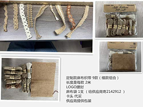 9 Rolls Jute Ribbons Lace Craft Ribbon 18 Meters for Crafts Wraping Gifts Party Holiday and Rustic Wedding Decorations