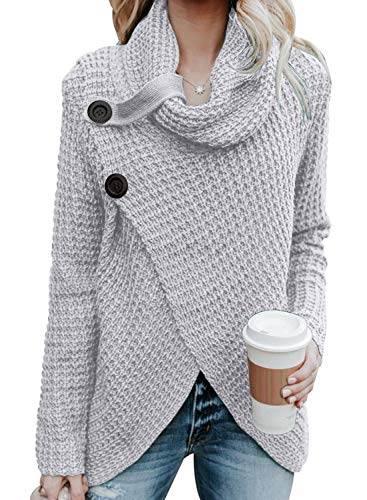 Asvivid Women's Lightweight Turtle Cowl Neck Asymmetric Wrap Knitted Work Sweaters with Button Details S Grey
