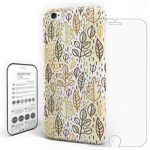 Protective phone case Leaf Pattern Backgound iPhone 7 Plus case with a Glass Screen Protector by ZOE (Zoe Leaf Print)