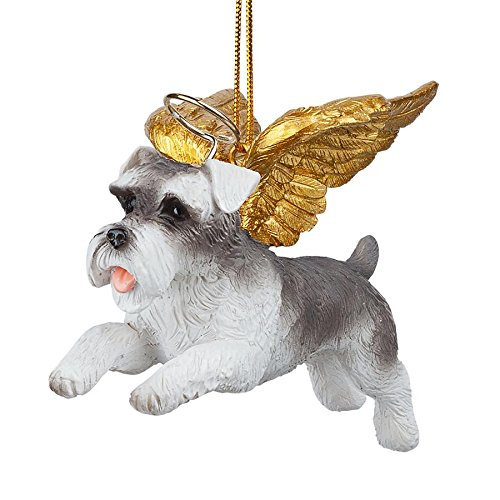Design Toscano Christmas Tree Ornaments - Honor The Pooch Miniature Schnauzer Holiday Angel Dog Ornaments - Christmas Decorations