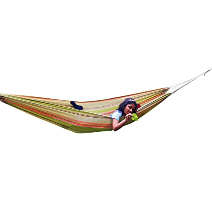 Hangit Fabric Cotton Hanging Hammock (Garden Stripes, 335 Centimeters)