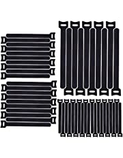 H HOME-MART 50pcs 7.9inch Reusable Cable Ties, Cable Management, Cable Straps Adjustable Releasable Tidy Wrap Hook and Loop Strong Black Cable Strap Cable Tie, 20cmx12mm (50-Pack)