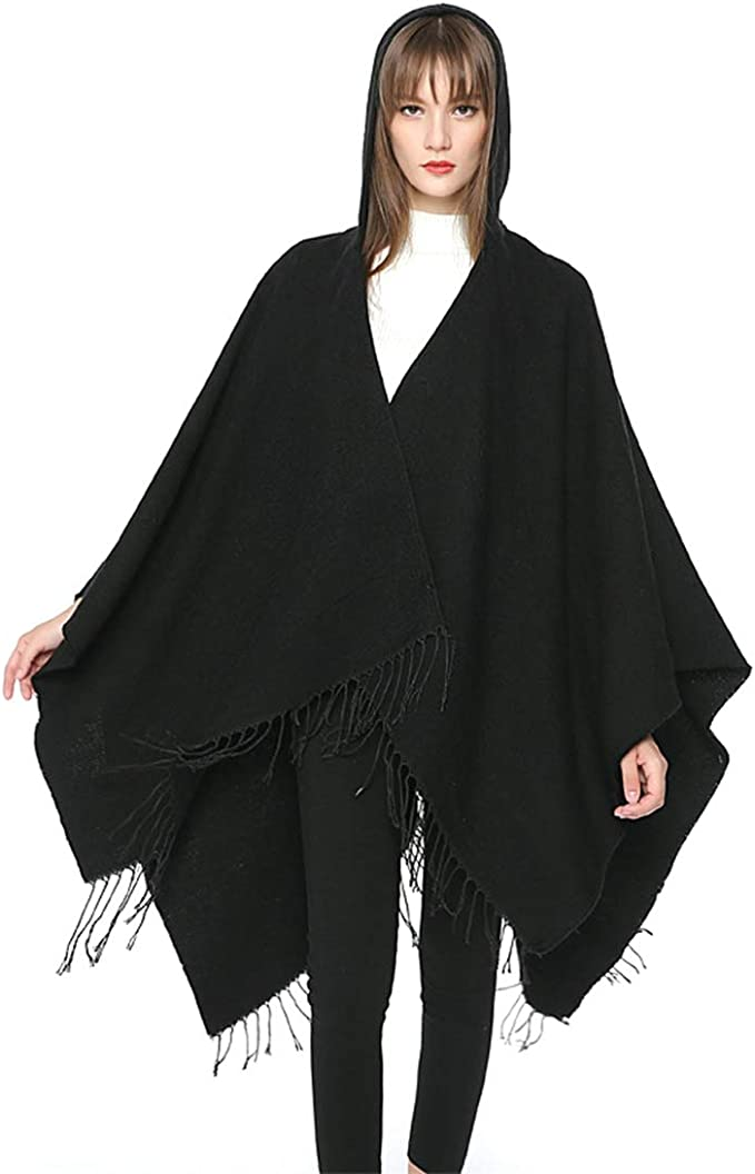 WiWi Womens Shawl Wrap Warmth Cozy Ruana Poncho Open Front Cape Color Block Cardigan Sweater for Spring Fall